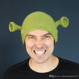 Discount mens crochet hats - Shrek Funny Men Hat Knit Green Monster Skullies Hat With Ears Halloween Gift Hat Winter Novelty Beanie Skullies For Wome