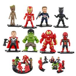 Batman Figure Wholesale Australia - 8pcs bag 9cm Avengers Action Figure Set Toy Cartoon Batman Spider-Man Iron Man superman Hulk Dolls Kid Gifts with 9 bases