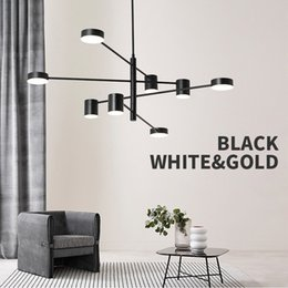 $enCountryForm.capitalKeyWord Australia - Modern Fashion Black Gold White Long Led Ceiling Suspended Chandelier Light Lamp for Hall Kitchen Living Room Loft Bedroom