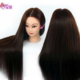 Human Hair mannequins online shopping - Mannequin Head With Hair Training Hairdressing Doll Mannequins Human Heads Training Female Wig Dummy Head With Synthetic Hair