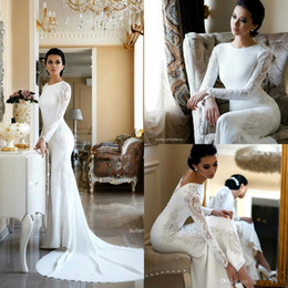 Discount elastic t shirts O Neck Lace Sheath Bohemia Wedding Dresses Long Sleeves Satin Applique Plus Size Modest Arabic Wedding Bridal Gowns BC2685