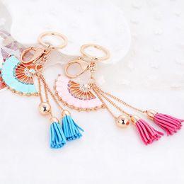 Hand Chain Ring Australia - 2019 Hand Fan Tassel Keychain Keyring - Gold Color Rhinestone Alloy Key Ring Chain Holder Bag Pendant Fashion Jewelry