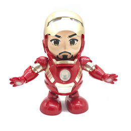 Figures Australia - Dance Hero Iron Man Robot Dancing Iron Man Action Figures LED Flashlight with Sound Avengers Superhero Doll Toys