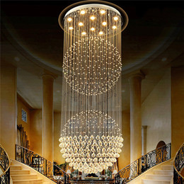 Double Touch Light Switches Australia - Led crystal light double ball duplex building long chandelier hotel living room lamp simple pendant light free FEDEX