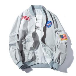 Опт Новый NASA пилот полета мужские дизайнерские куртки повседневная MA1 бомбардировщик куртка осень письмо печатных ветровка Мужская верхняя одежда