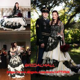 e3eaa356af4 Off the Shoulder Ivory Taffeta Gothic Wedding Dresses 2019 Sexy Black  Applique Ruffles Tiered Long Bridal Gowns Plus Size Vestidos De Novia