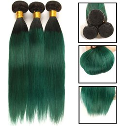 Hair purple Human straigHt weft online shopping - 3 Ombre Brazilian Hair Straight Bundles T1B Green Purple Blue Ombre Human Hair Weave Bundles Brown Remy Hair Extensions