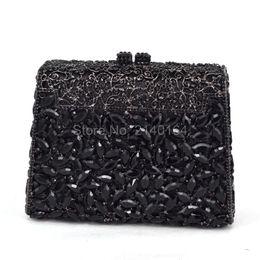 $enCountryForm.capitalKeyWord Australia - Luxury Crystals Evening Clutches Bag Black Purse Fashion green Women Party Metal Hard Case Handbags with Shoulder Chain NO.88614