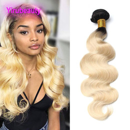 Discount 24 613 hair extension - Malaysian Human Hair Extensions One Bundle 1B 613 Ombre Hair Two Tones Body Wave Bundle 1 Piece