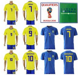 41ef8d984 sweden soccer jersey 2019 - 2018 World Cup Sweden 10 Zlatan Ibrahimovic  Jersey Men Soccer Set