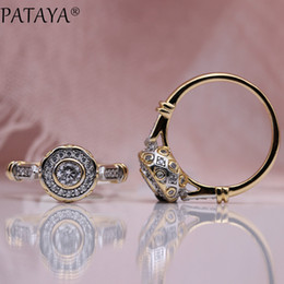 $enCountryForm.capitalKeyWord Australia - Pataya New 585 Rose Gold Lovely Carved Natural Zircon Rings Women Fashion Jewelry Wedding Fine Craft Hollow Round White Ring SH190716