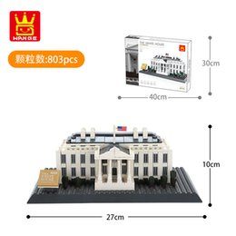 white building blocks UK - Building block children's toy landmark series 3D building model 803pcs children's gift decorations in Washington White House