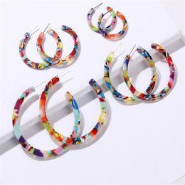 Wholesale Resin Hoop Earrings NZ - Women Hoop Earrings Colorful Resin Geometric Circle Earring For Gilrs New Bohemian leopard Earring Sets 4Pairs set Wedding Gifts XD