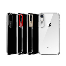Wholesale For iphone xs max xr x plus cell phone case Transparent crystal clear slim case back cover with auto focus metal camera lens protector