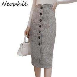 $enCountryForm.capitalKeyWord Australia - Neophil High Waist Woolen Button Pencil Midi Skirts Office Ladies Office Elegant Grey 2019 Summer Wool Wrap Skirts Faldas S1738 MX190717