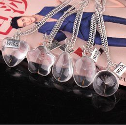 $enCountryForm.capitalKeyWord Australia - Glass bottle necklace natural dandelion seed in glass Make A Wish Glass Bead Orb silver plated long chain necklace natural dandelion necklac