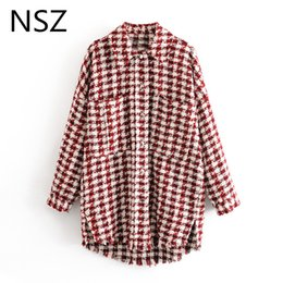 long tweed coat 2020 - NSZ women houndstooth oversized tweed jacket long sleeve fashion tassel plaid coat loose woolen checkered outwear femme