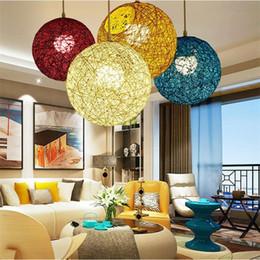 $enCountryForm.capitalKeyWord Australia - Modern Pendant Light Art Ball Pendant Lamps Nordic Round Hand-Woven LED Lamps Lead Suspension Light Dia 15cm 20cm 25cm 30cm 40