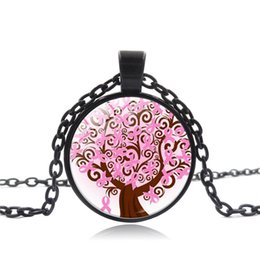 pendant breasts 2019 - Breast Cancer Awareness Necklace Art Glass Pink Ribbon Tree Necklace Concerned Of Women's Health Pendant Jewelry Cr