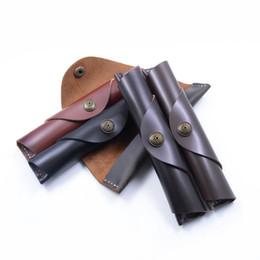 $enCountryForm.capitalKeyWord Australia - Genuine Leather Pen Holder Handmade Vintage Retro Cowhide Snap-on Pen Roll School Office Stationery 9 Styles