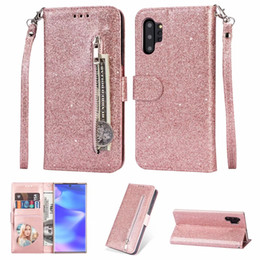 Spark iphone online shopping - For Iphone XS MAX XR X S10 e Note Pro Multifunction Bling Glitter Leather Wallet Case Zipper Sparking ID Cash Shinny Cover
