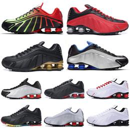 Black Gold Australia - New Designer Shox R4 Challenge Red Running Shoes Men Triple White Black Gold Fashion Athletic mens Trainer Tennis Sports Sneakers runner