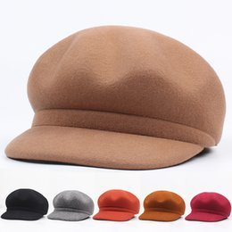 fans hats Australia - Autumn and winter new wool beret octagonal hat children Korean version of art fan simple easy to match solid color cap tide
