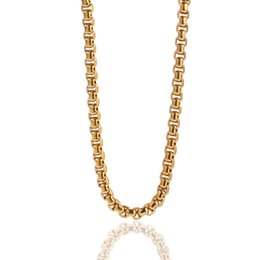 Chain Lanterns Australia - Hip hop Necklace Stainless Steel Lantern Chain 4mm 3mm Box Chain Color Preserving Plating Necklace Wholesale