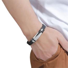 "$enCountryForm.capitalKeyWord Australia - Fashion Stainless Steel & Silicone Bracelets Silver Blank Trendy Jewelry Men Friends Lovers Gifts 22cm(8 5 8"") Long, 1 Piece"