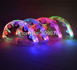 $enCountryForm.capitalKeyWord Australia - Free shipping 120pcs lot 22*13cm blinking plastic bell LED Handbell FLash Light Up Tambourine Neon Toy Cheering Party Dancing