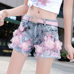 ripped jeans for women hot UK - Floral Denim Shorts for Women 2020 Summer New Jean Shorts Female Loose Embroidery Beaded Ripped Tassel Wide Leg Hot Pants Shorts