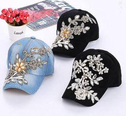 4b75528181c wholesale fashion caps rhinestone 2019 - DHL Womens Snapback Caps Rhinestone  Flower Fitted Baseball Cap Wholesale