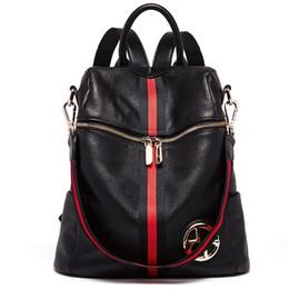 $enCountryForm.capitalKeyWord UK - BOSTANTEN Women Genuine Leather Backpacks Female Backpack School Bag Black Stripe Multifunctional Leather Back pack on Shoulder
