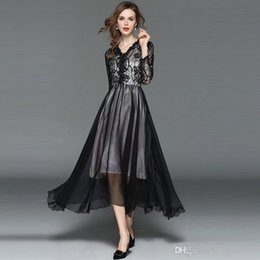a2133b380b66 Maxi Dress Floral Print for Woman Irregular Dresses Women Party Prom Lace  Dress Long Sleeve Slim Fit Elegant Little Black Dress