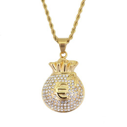 $enCountryForm.capitalKeyWord UK - hip hop Euro money bag diamonds pendant necklaces for men golden luxury necklace Stainless steel rhinestone Cuban chain fashion jewelry