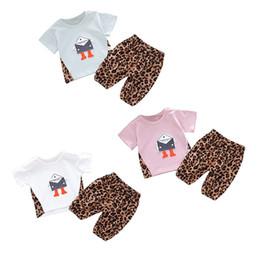 $enCountryForm.capitalKeyWord NZ - 2Pcs Set Summer Baby Boys Girls Short Sleeve Cartoon Robot Print Tops T-shirt+Leopard Shorts Children Casual Outfits Sets