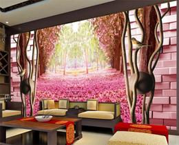 $enCountryForm.capitalKeyWord Australia - custom size 3d photo wallpaper mural living room cherry blossom forest brick wall picture sofa TV backdrop wallpaper mural non-woven sticker