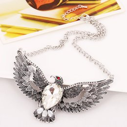 $enCountryForm.capitalKeyWord Australia - New Ethnic Style Vintage Eagle Shape Pendant Chain Necklace Fashion Retro Eagle Wing Necklace Water Drop Jewelry
