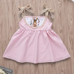 46062c3fb INS Infant Baby Summer Dress Girls Lace Cotton Rabbit Strap Dresses Pink  Easter Bunny Cute Dress NC205