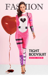 sexy pink cosplay NZ - 3D Print Team Leader Full Bodysuit Cosplay Costume Jumpsuit Halloween Costumes For Women Sexy Pink Playsuit for night fun Adult Party Supply