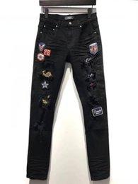 3b4a8d0ede 2019 Marque Hommes À La Main En Affûté Déchiré Biker Jeans Slim Fit  Mendiant Collant Tissu Biker Denim Styliste De Mode Pantalon noir Hommes