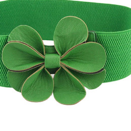 $enCountryForm.capitalKeyWord UK - Hot Green Faux Leather Flower 7.5cm Wide Elastic Cinch Belt for Woman
