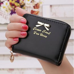Bow Cards Wholesale Australia - New Fashion Women's Short Zipper Wallet PU Leather Credit Card Holder, Ladies Mini Purse With Bow
