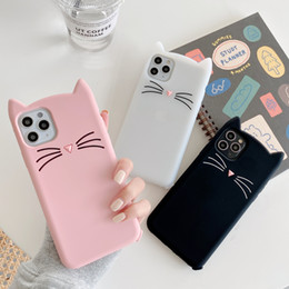 Wholesale cat case soft galaxy resale online - 3D Cute Smile Bearded cat Ear Silicone Soft Case For iPhone Pro Max XS Max XR X S10 S9