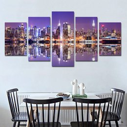 Paintings New York Australia - Unframed New York Building Panel Wall Art City Oil Painting On Canvas Textured Abstract Paintings Pictures Decor Living Room Decoration Pict