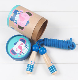 Discount skipping toy - Children's Jump Ropes wooden primary school beginner boy girl kindergarten skipping rope cute handle toy wholesale