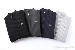 Venta al por mayor de Nueva chaqueta de punto de los hombres de cocodrilo logotipo de la cremallera suéter caliente de alta calidad con capucha sudadera otoño invierno casual con capucha