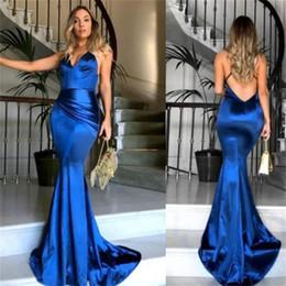 702cbe2f98982d Royal Silks Australia - Soft Silk Satin Royal Blue Prom Dresses Pleats  V-neck Criss