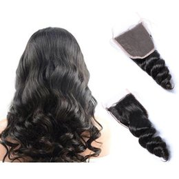 natural color closure Australia - Indian Remy Loose Wave Human Hair 4x4 Free Part Lace Closure Human Hair with Baby Hair Natural Color