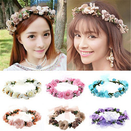 White hair Wreath online shopping - Korean Fashion Women Crown Flower Headband Wedding Bridal BOHO Hair Accessories Beautiful wreath decorate your beautiful face